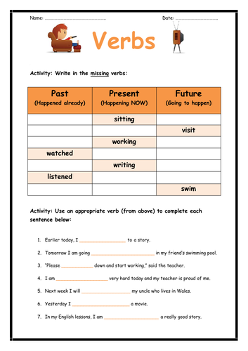 Past, Present and Future Tense Verbs Worksheet