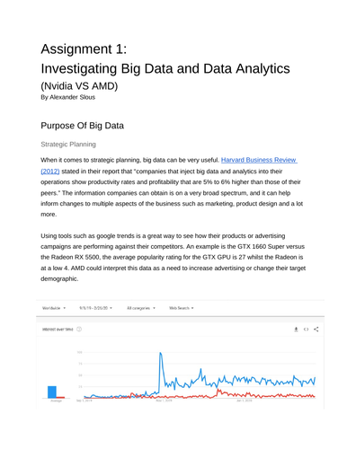 Big Data Assignment 1: Investigating Big Data and Data Analytics