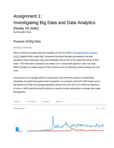 Big Data Assignment 1: Investigating Big Data and Data Analytics