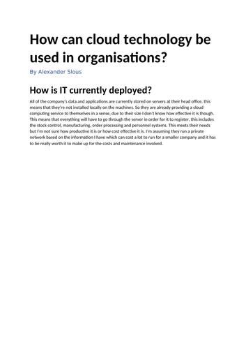 Cloud Storage Assignment 1: Cloud Technologies