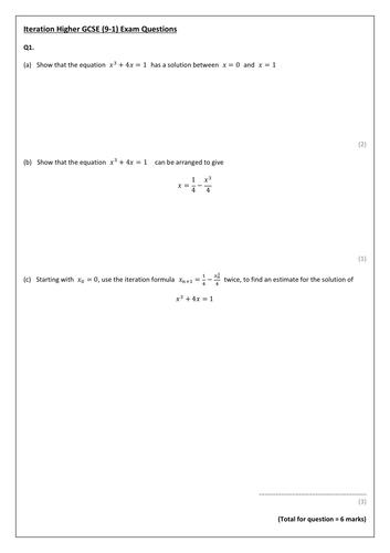 GCSE (9-1) Iteration Exam Pack