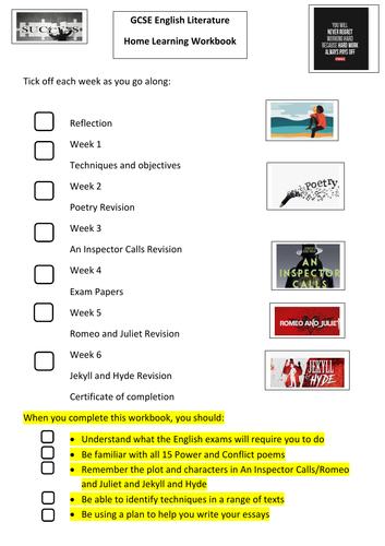 GCSE English  Literature Student Revision Booklet
