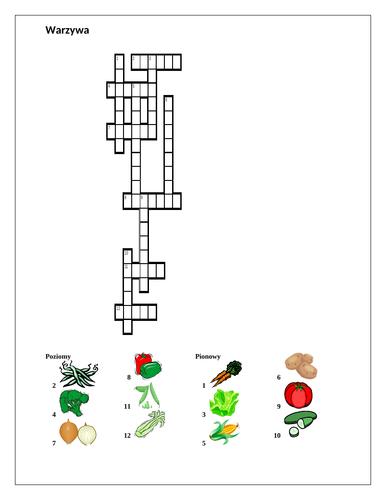 Warzywa (Vegetables in Polish) Crossword