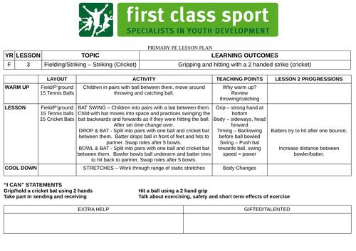 EYFS PE Plans - Reception - Fielding/Striking x 3 Plans