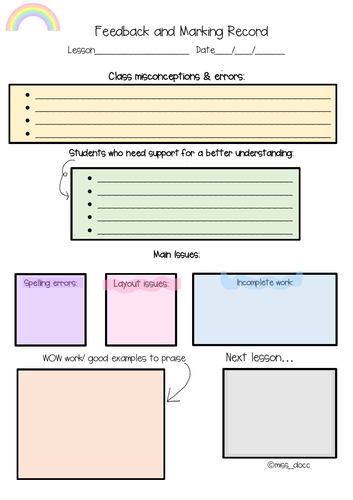 Teacher lesson feedback and relfection sheet
