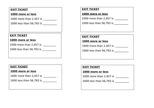 Maths Exit Tickets - Year 4 - Place Value