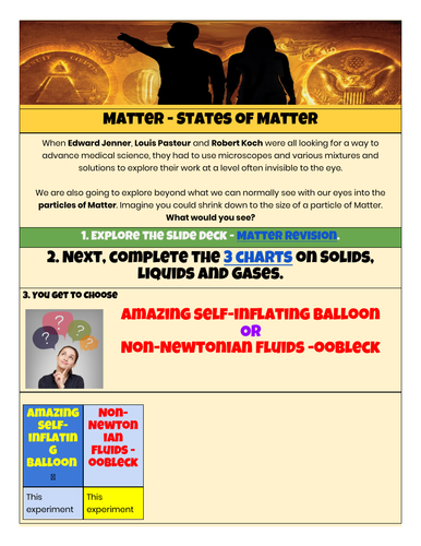 States of Matter - HyperDoc and Slides
