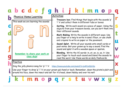 FREE Phonics home learning ideas - SATPIN