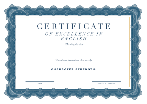 Certificate of Excellence in English
