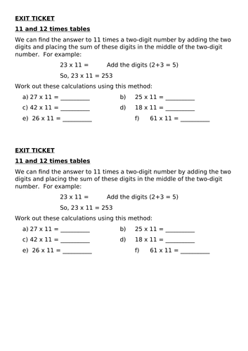 Exit Tickets Multiplication & Division 2