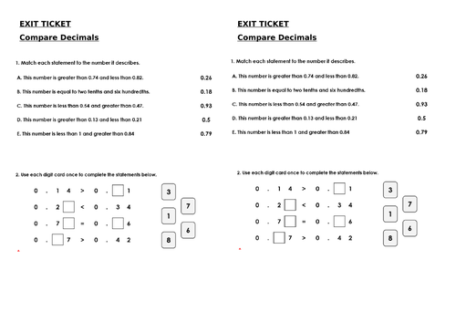 Year 4 Maths Exit Tickets  - Decimals 2