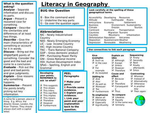 Literacy Geography Mat