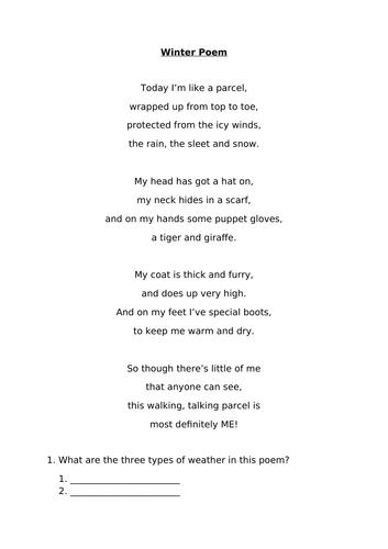 Winter Poem Comprehension