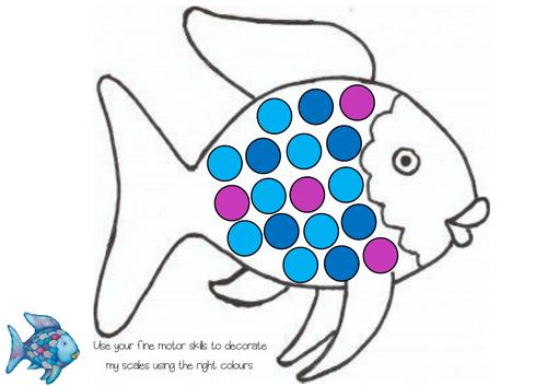 Rainbow Fish Fine Motor Pom Pom Game