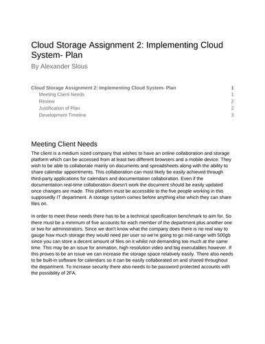 Cloud Storage Assignment 2: Implementing Cloud System