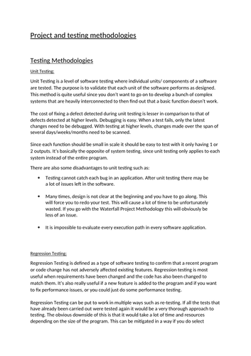 Software Testing Assignment Assignment 1: Testing Methodologies