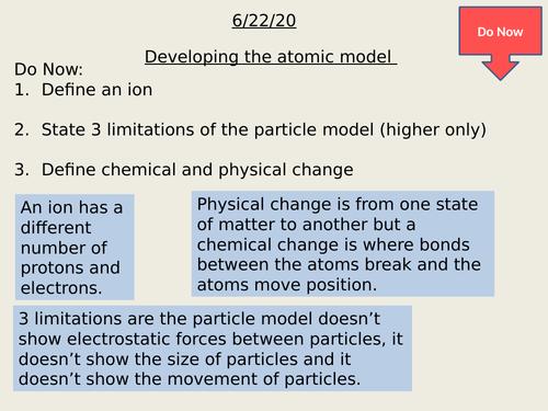 Development of the atom research lesson