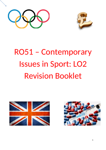RO51 - Contemporary issues in Sport: LO2 - Revision Booklet