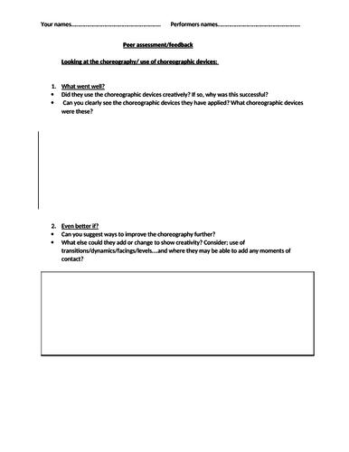 Peer assessment sheet Dance choreography