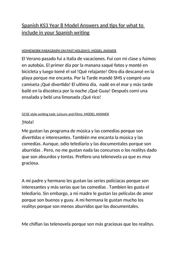 KS3 Year 8 Spanish example paragraphs for food, leisure and holidays.