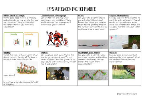 EYFS Superworm project planner