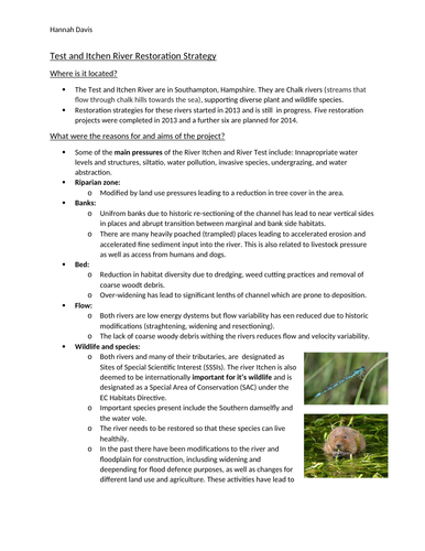 River Restoration case study for urban environments topic in A-level geography- River Test & Itchen