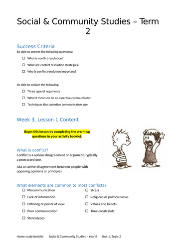 Social and Community Studies - Relationships - How to resolve conflict with friends or colleagues
