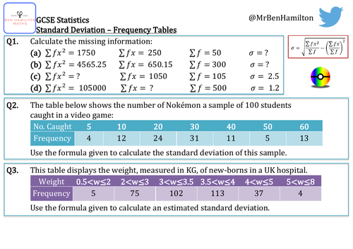 GCSE Statistics - Standard Deviation From a Frequency Table