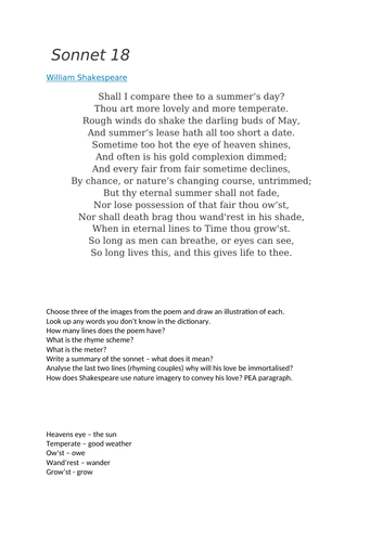 Sonnet 18 poem and questions worksheet