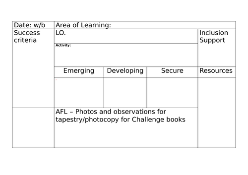 Adult lead planning and group assessment  template.