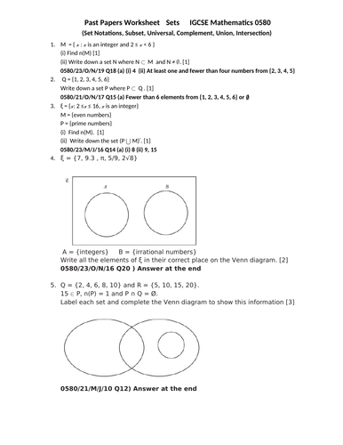 Set Notation , IGCSE Mathematics 0580, Past Papers Worksheet with Answers