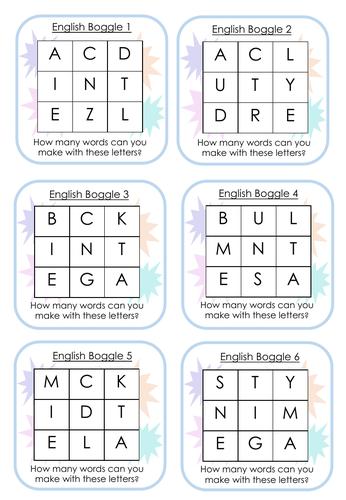 Boggle Cards - English