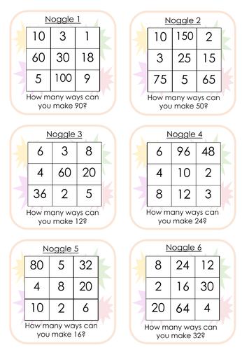 Noggle Cards  - (Boggle Maths)