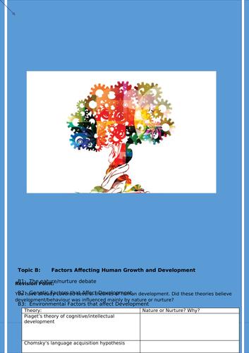 Level 3 Health and Social care Unit 1 - Human Lifespan development LAB (2 booklets)