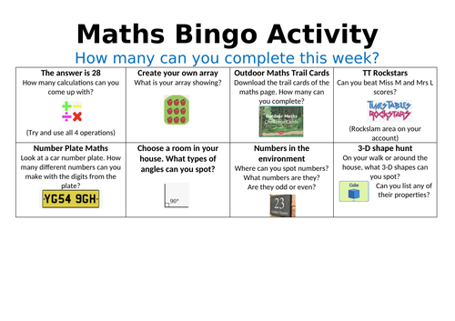 Maths Bingo Activity Sheet