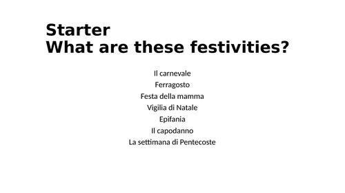 Italian GCSE Festivities/ carnival