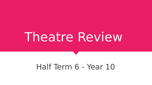 WJEC Drama Theatre Review - Unit of Work