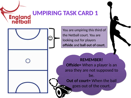 Netball Umpire Task Cards