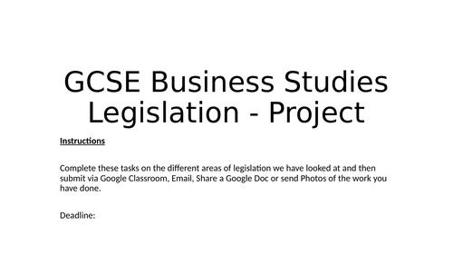 GCSE Business Legislation Project