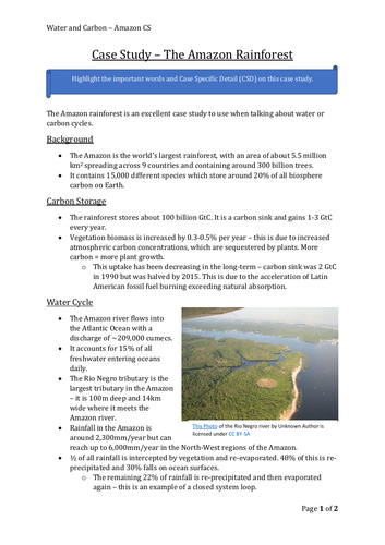 AQA A Level Geography - Water and Carbon