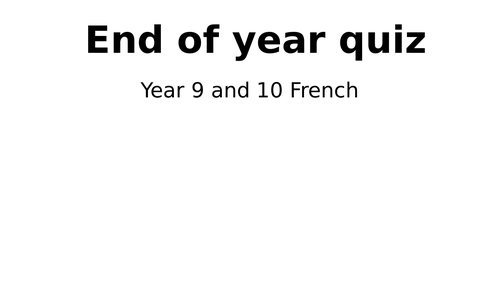 French 'end of year quiz' (2020)