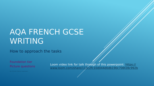 GCSE FRENCH Writing F Q1 PPT with video link