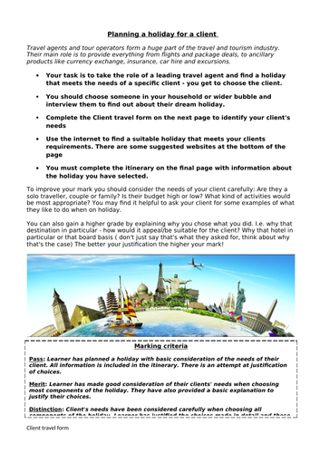 Travel and Tourism Planning a trip activity