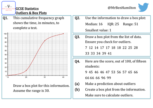 GCSE Statistics - Outliers & Box Plots Reasoning Resource