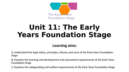 CPLD Unit 11: The Early Years Foundation Stage