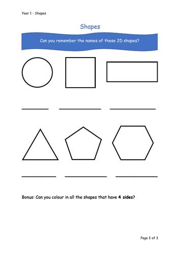Y1 Maths - Shapes (Free)