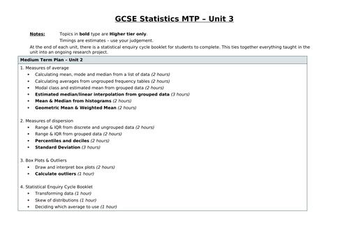 Edexcel GSCE Statistics - Unit 3 SOW - Summarising Data