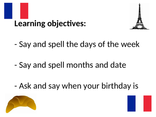 French days, months, dates and birthdays