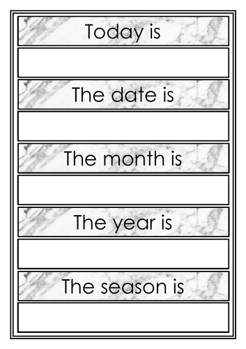 Marble Changeable Classroom Calendar