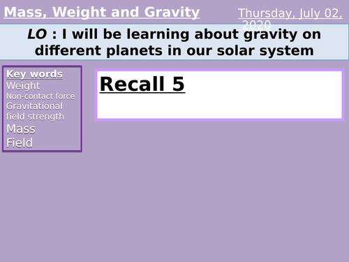 weight, mass and gravity